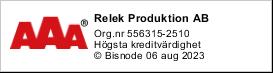 RELEK är ett kreditvärdigt företag enligt Bisnodes värderingssystem som baserar sig på en mängd olika beslutsregler. Denna uppgift är alltid aktuell, informationen uppdateras dagligen via Bisnodes databas.